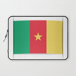Flag of Cameroon.  The slit in the paper with shadows. Laptop Sleeve