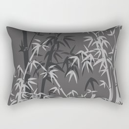 White and black Bamboo grey background Rectangular Pillow
