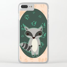 Raccoon with Paw Prints Clear iPhone Case