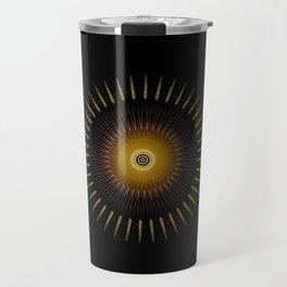 Modern Circular Abstract with Gold Mandala Travel Mug