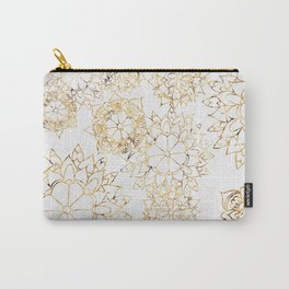Modern hand painted brown yellow watercolor floral illustration Carry-All Pouch