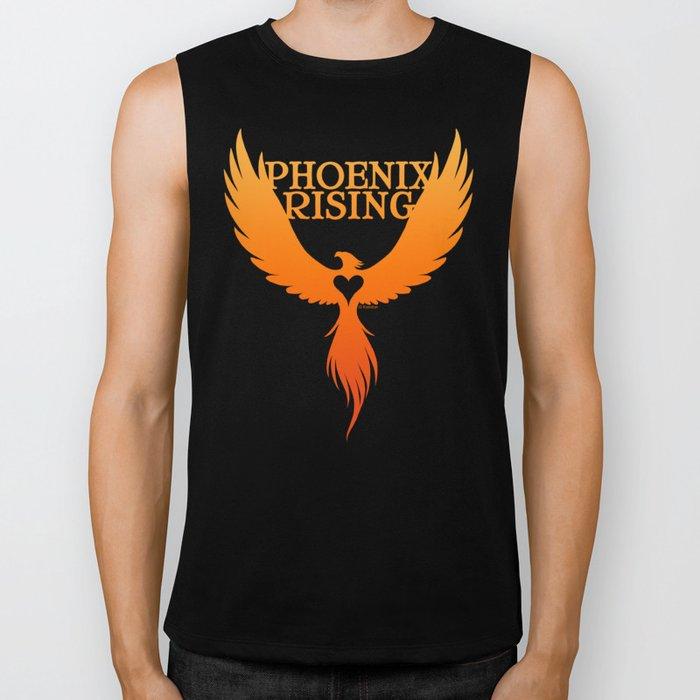 PHOENIX RISING orange with heart center Biker Tank
