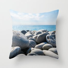 Rocks Beach Ocean Horizon Smooth Rocks Tide Tidal Throw Pillow