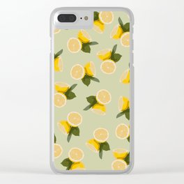 Yellow Citrus Lemon Fruit on Pale Lime Green Clear iPhone Case