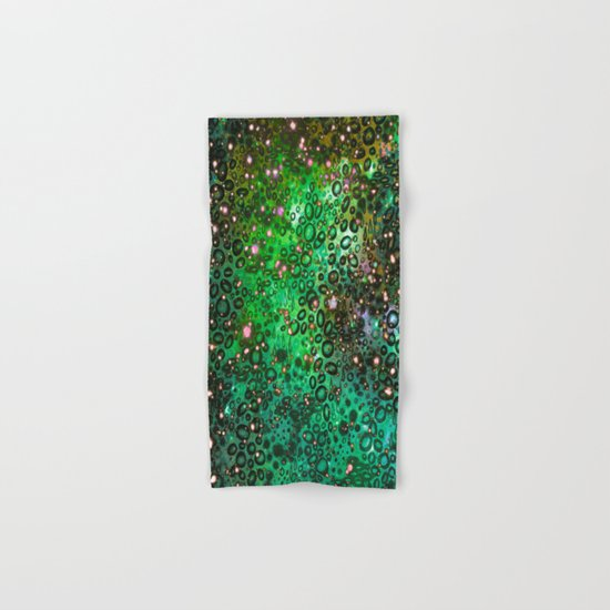 RAINBOW DOTTY OCEAN 3 Green Lime Ombre Space Galaxy Colorful Polka Dot Bubbles Abstract Painting Art Hand & Bath Towel