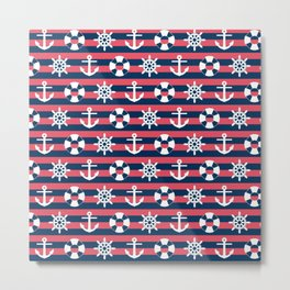 Sailor Stripes Ahoy Metal Print