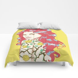 Red hair girl with rose and thorns tattoo Comforters