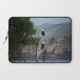 TWO BALD EAGLES PERCHED ON GRAY BARE TREE BRANCH IN THE MORNING Laptop Sleeve