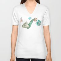 leah flores V-neck T-shirts featuring flores by Lua Fraga