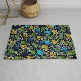 elegant modern pattern with dots circling shiny colored chick glittery Rug