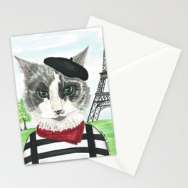 French Cat Mime in Paris Stationery Cards