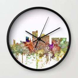 Lubbock, Texas Skyline - Faded Glory Wall Clock