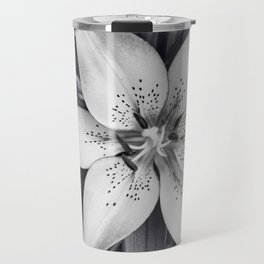 Black and White Lily Flower Photography, Grey Floral Art, Lillies Photo, Grey Lilly Nature Print Travel Mug