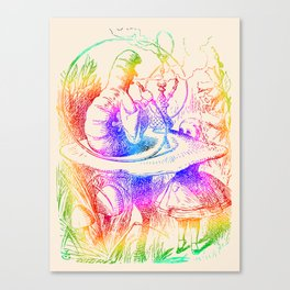 Psychedelic Alice in Wonderland Smoking Caterpillar Canvas Print