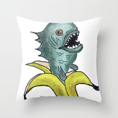 piranha banana Throw Pillow