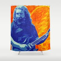 grateful dead Shower Curtains featuring Jerry Garcia - The Grateful Dead by Tipsy Monkey
