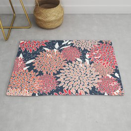 Floral Prints with Leaves, Coral, Magenta, Pink and Navy Blue Rug