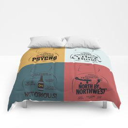 Four Hitchcock movie poster in one (Psycho, The Birds, North by Northwest, Notorious), cinema, cool Comforters