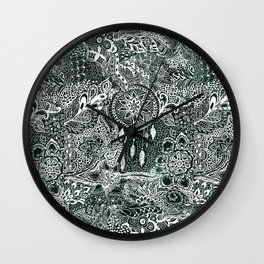 Modern dark green forest watercolor Christmas dream catcher floral doodles Wall Clock