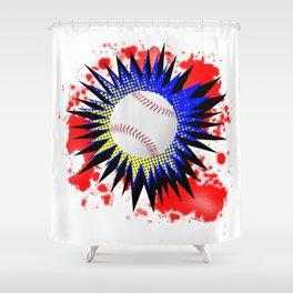 Baseball Comic Boom Shower Curtain