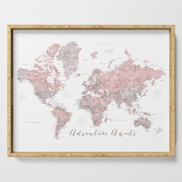 World map in dusty pink & grey watercolor, Adventure awaits Serving Tray