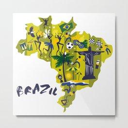 Abstract Brazil Soccer Mural Metal Print