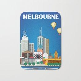 Melbourne, Australia - Skyline Illustration by Loose Petals Bath Mat