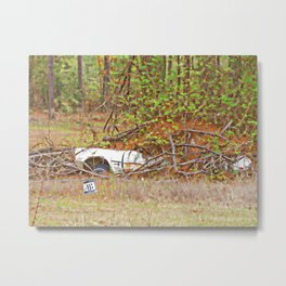 Sinking abandoned car Metal Print