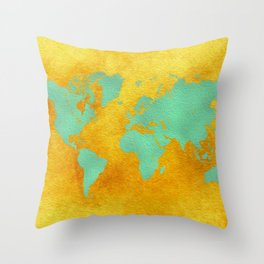 world map gold green #worldmap #map Throw Pillow