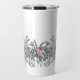 Pink and Lavender Floral Fields Travel Mug