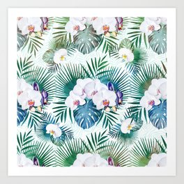 Tropical leaves and orchid flowers design Art Print