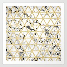 Stylish white marble faux gold glitter triangles pattern Art Print