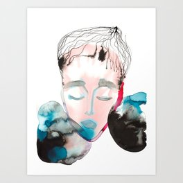Abstract Cone-Head Portrait Art Print