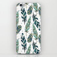 feathers iPhone & iPod Skins featuring Feathers by Julia Badeeva