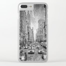 Graphic Art NEW YORK CITY Traffic | Monochrome Clear iPhone Case