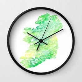 Typographic Ireland - Green Watercolor map Wall Clock