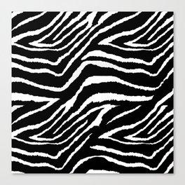 Animal Print Zebra Black and White Canvas Print