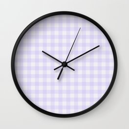 Gingham Pattern - Lilac Wall Clock