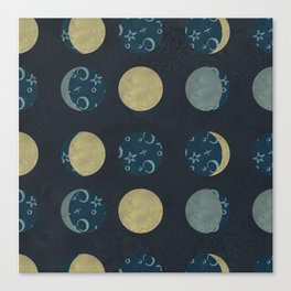 Polka-Dot Moon Phases Canvas Print