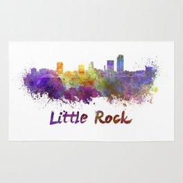Little Rock skyline in watercolor Rug