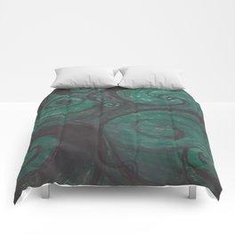 Swirl (black and green) Comforters
