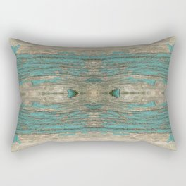 Weathered Rustic Wood - Weathered Wooden Plank - Beautiful knotty wood weathered turquoise paint Rectangular Pillow