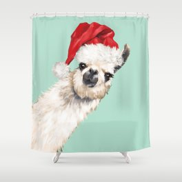 Christmas Sneaky Llama Shower Curtain