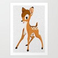 bambi Art Prints featuring Bambi by MandiMccl