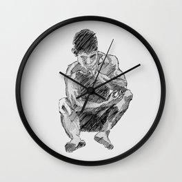 LEE - male figure drawing Wall Clock