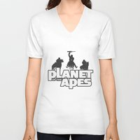 planet of the apes V-neck T-shirts featuring Planet of the Apes by leea1968