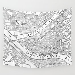 Vintage Map of Pittsburgh (1885)  Wall Tapestry