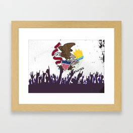 Illinoise State Flag with Audience Framed Art Print