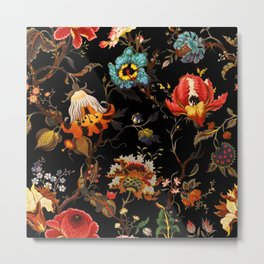 Midnight Red Blue Gold Flower Metal Print