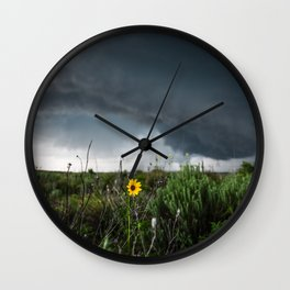 Stormflower - Sunflower and Storm in Texas Wall Clock